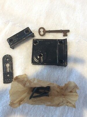 NOS Antique Cast Iron Rim Lock W/Key