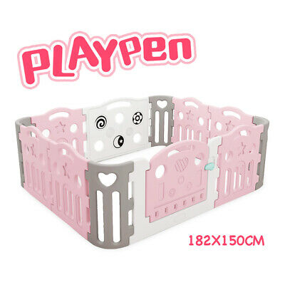 Premium Quality Baby Playpen Toddler Baby Safety Gate Room Pink 182x150cm