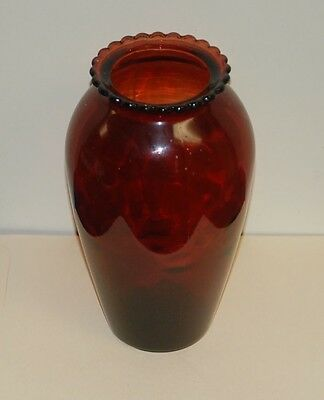 Vintage Ruby Red Glass Vase 9 Inches Tall with Scalloped Rim