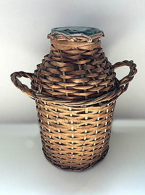 Old antique Demijohn wine bottle flask glass wrapped wicker good condition 5L