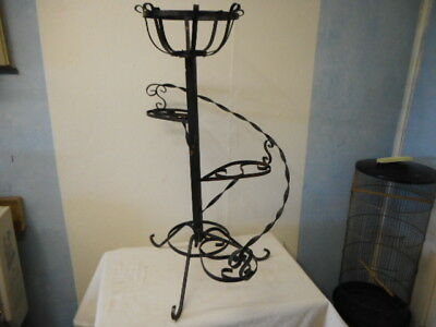 """Vintage Antique Black Spiral Scroll Wrought Iron Plant Fern Stand Shappy 33"""""""