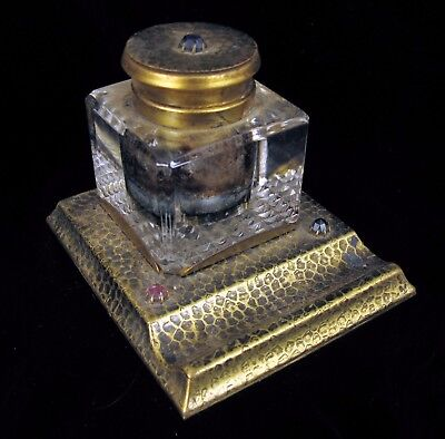 Antique Arts And Crafts Hammered Texture Brass Crystal Inkwell Rhinestones Nice!