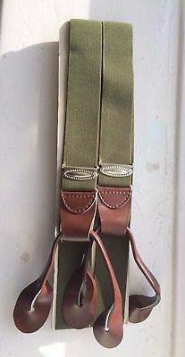 Men's Vintage Traditional Leather End Button Suspender Trouser Braces Green-New