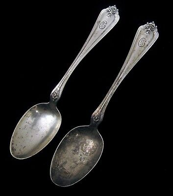 Antique Whiting Sterling Silver Pair Of Spoons Small Teaspoon Rare Not Scrap !