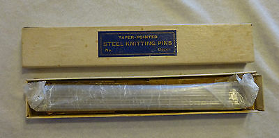 """Vintage Taper Pointed Steel Knitting Pins No. 12 8 ½"""" Long Lot of 36"""