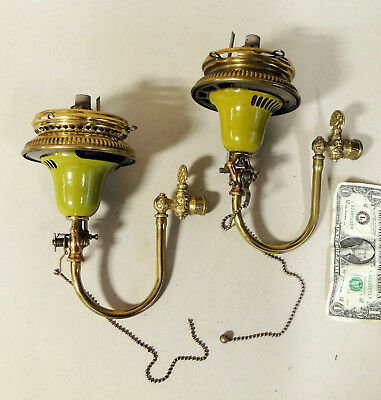 2 SCONCE Antique vtg c1912 Industrial Porcelain GAS LIGHT Lamp Humphrey General