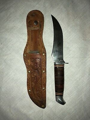 Vintage Schrade Walden 148 Fixed Blade Hunting Knife With Sheath Made In Usa