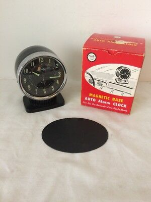 Vintage New Old Stock Mid Century Bradley Automobile Magnetic Dashboard Clock