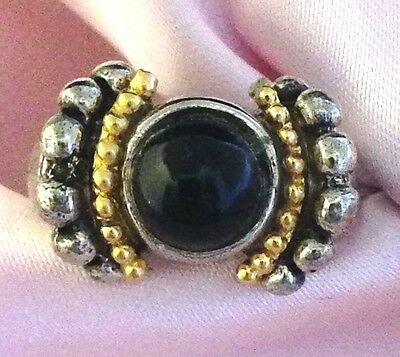 Vintage Antique Silver and Gold Cocktail Ring Statement Black Cabochon 1k