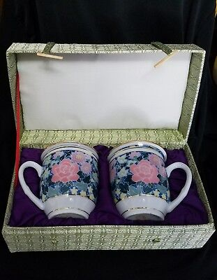 Vintage Porcelain Oriental Tea Cup Mugs with Lids. In Box.