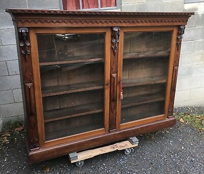Carved 2 Door Walnut Bookcase