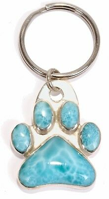 Sterling Silver Key Ring with Larimar stone. Great Pet Charm Too. 1 x 3/4""