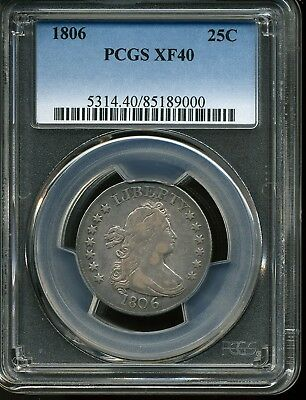 1806 25c Draped Bust Quarter Dollar XF40 PCGS 85189000