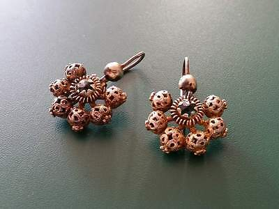 Antique Rare silver filigree earrings with gilding 19th century-Ottoman Empire.