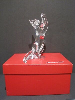 """Signed Baccarat Crystal """"Acrobat Cat"""" Glass Figurine, France With Box EUC"""