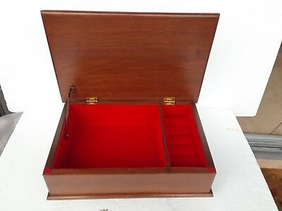 Large Vintage Large Wooden Jewelry Box with ring dividers / red velvety lining