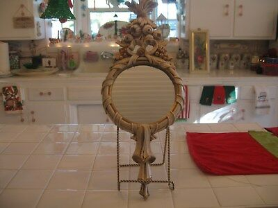 Beautiful Vintage French Provincial Hand Carved Ornate Barbola Wall Mirror Italy