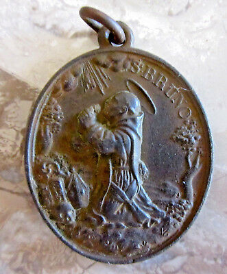Large /antique Rare St. Bruno / Heart Of Jesus, Mary And Joseph /bronze Medal