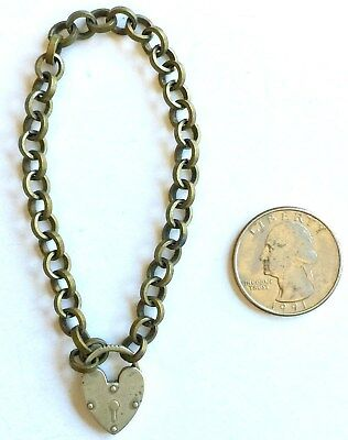Vintage Small Heart Shaped Lock & Brass Chain Link Key Fob