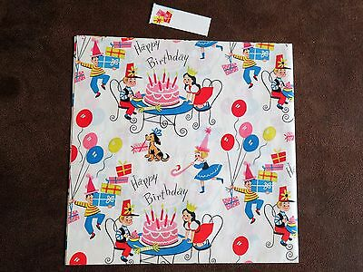 """Vintage Birthday Wrapping Paper Childs Party Cake 1 Sheet 20"""" x 30"""" Tag & Seals"""