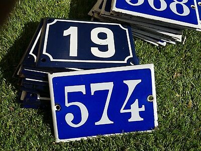 Old blue French house number 574 door gate plate plaque enamel metal sign steel