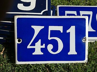 Old blue French house number 451 door gate plate plaque enamel metal sign steel