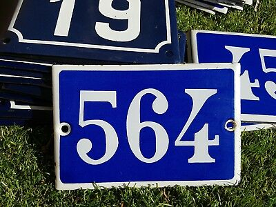 Old blue French house number 564 door gate plate plaque enamel metal sign steel