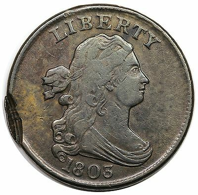 1803 Draped Bust Half Cent, C-1, tab double strike, VF-XF