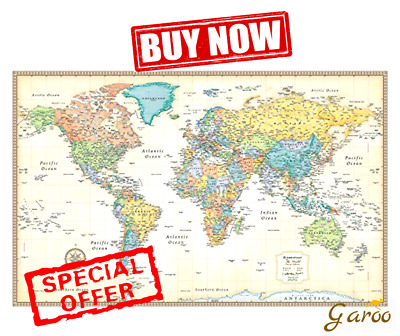 RMC WORLD MAP Poster Signature Series Large Wall Map Rand McNally - Where can i buy a wall map