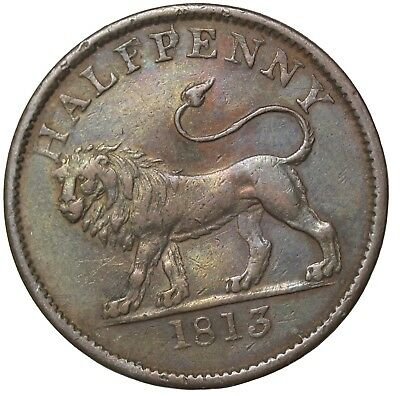 1813 Great Britain Lion LibertyBritish Copper Co. Halfpenny Conder Token W-610
