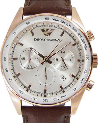 216d6d971d4 EMPORIO ARMANI CHRONOGRAPH Silver Dial Brown Leather Mens Watch ...
