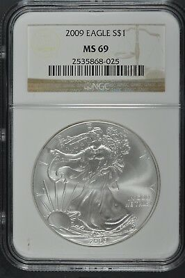 2009 Silver American Eagle Coin Graded MS69 by NGC - 1 oz Silver Coin