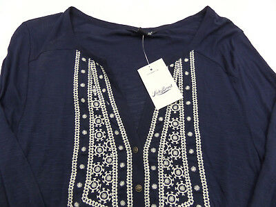Lucky Brand Womens Medium Blue Embroidered Peasant Top Blouse Shirt NEW
