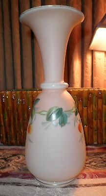 VTG RARE VICTORIAN BOHEMIAN HAND PAINTED w/GOLD ACCENTS VASE