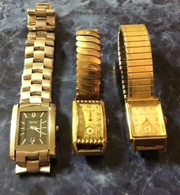 Vintage Mens Bulova Watches - Rectangle Face - Silver & Gold Tone