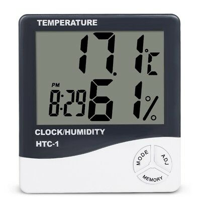 LCD Digital Thermometer Humidity Meter Hygrometer Clock Indoor Room Temperature