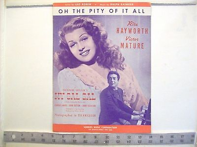 Vintage Oh the Pity of it All sheet music from the movie My Gal Sal  1942
