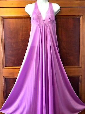 "Vintage Kayser Nightgown Floor Length Lavender, Lace Nylon, 106"" Sweep!! - Large"