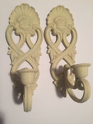 """Vintage set of HOMCO 1988 Painted SYROCO CRISS CROSS SHELL 12"""" SCONCES"""