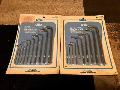 (2) Factory Sealed! Otc 10 Pc Hex Key Type Wrench Sets 7365