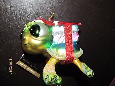 Robert stanley,Glass Christmas ornament,holiday turtle with gifts.