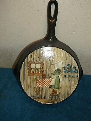 Cast Iron Skillet With Pour Spouts Painted Art Design On Back # 5 By Jean
