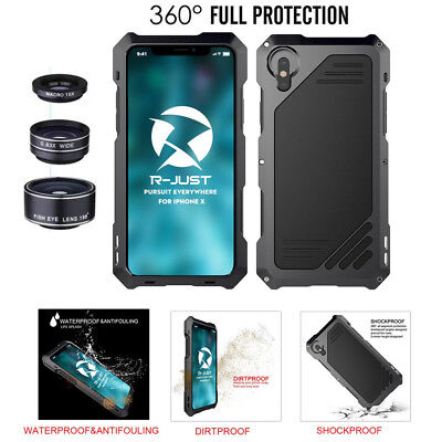For iPhone Xs Max 5 Metal Aluminum Case Cover With Fisheye Wide Angle Macro Lens