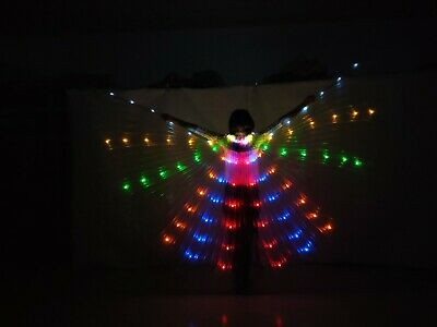 dress LED Light Isis Wings Belly Dance Costumes 360° Egyptian Sticks Performance