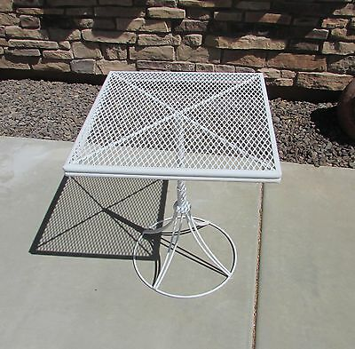 Mid Century Homecrest Wrought Iron Square Adjustable Patio Table Salterini Style