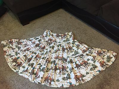 RARE Vintage  Tiered Squaredance Skirt Western Cowboy Rodeo 1950s Fabric