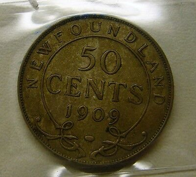 1909 Newfoundland Fifty Cent Silver Coin - ICCS EF-40