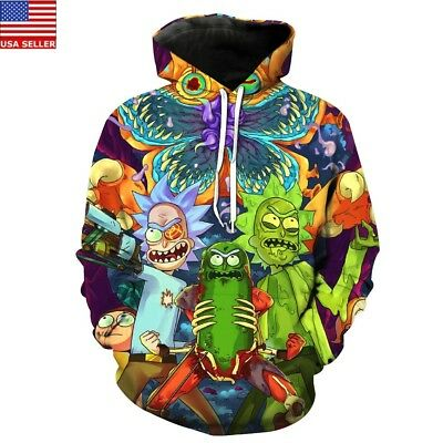 New Rick and Morty Hoodies Jacket Coat 3D Graphic Print Pocket Tops Pullover