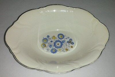 Taylor Smith & Taylor Vogue Blue Yellow Flowers Platinum Trim Oval Serving Bowl