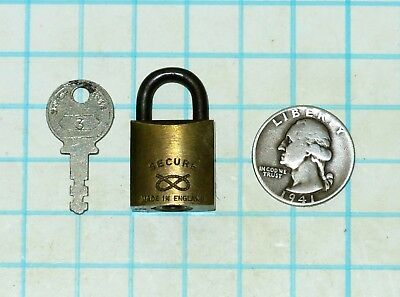 Vtg Old Small Miniature Brass Body SECURE Made in England Lock Padlock and Key